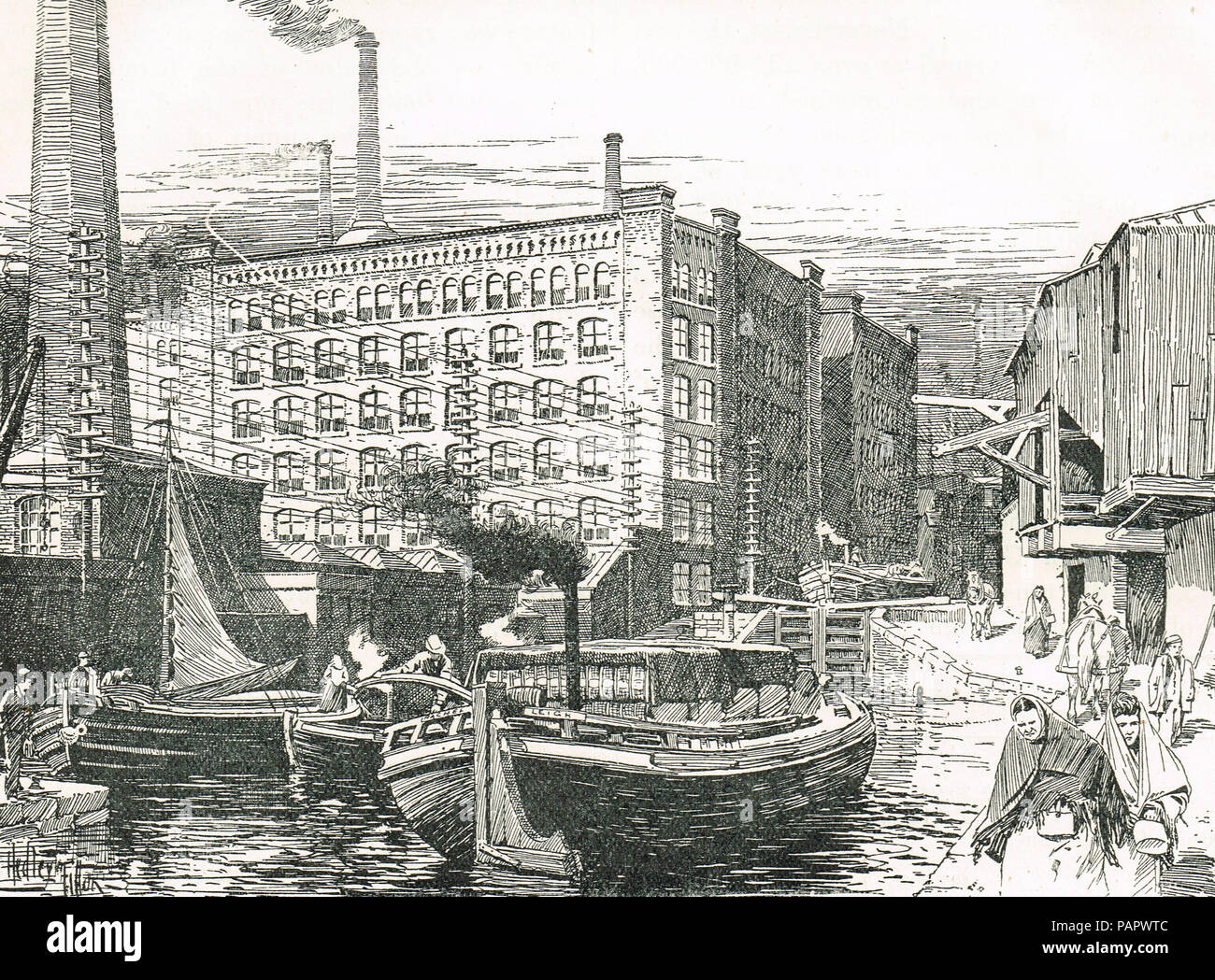 Cotton Mills at Miles Platting, Manchester, England in the 19th century - Stock Image