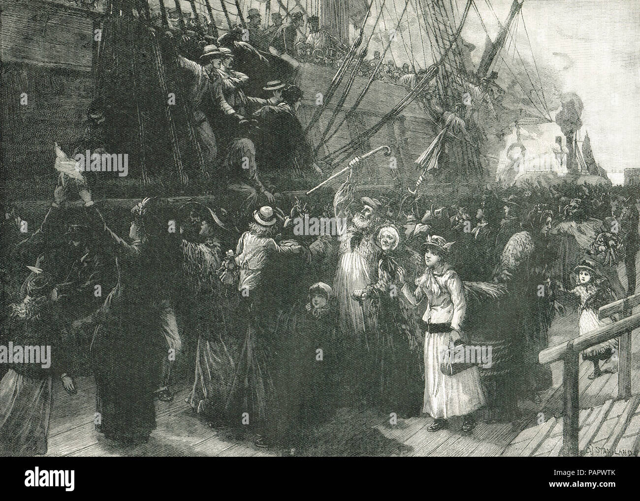 On board an Emigrant ship, Irish famine, The Great Famine 1845-1849 - Stock Image