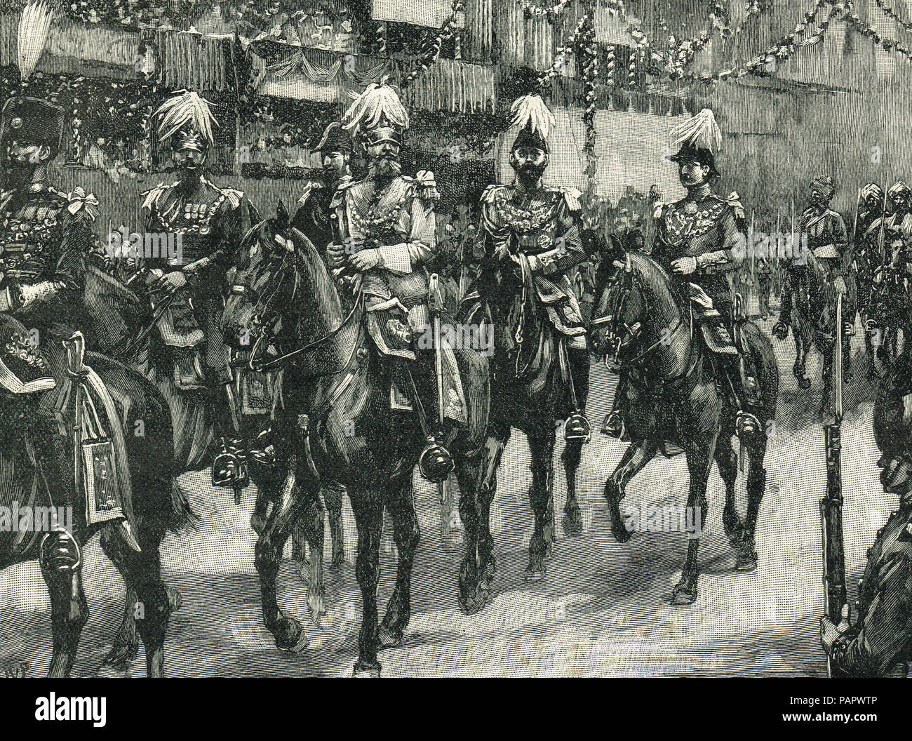 Queen Victoria's Golden jubilee.  The escort of Princes in the royal procession, 21 June 1887 - Stock Image