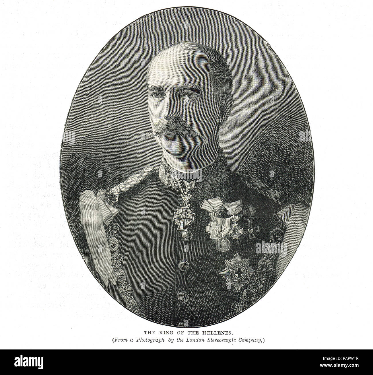 George I of Greece, King of the Hellenes, born Prince William of Schleswig-Holstein-Sonderburg-Glücksburg, King of Greece from 1863 until his assassination in 1913 - Stock Image