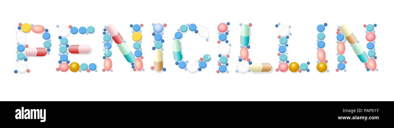 Penicillin written with pills, capsules, tablets -  illustration on white background. - Stock Image