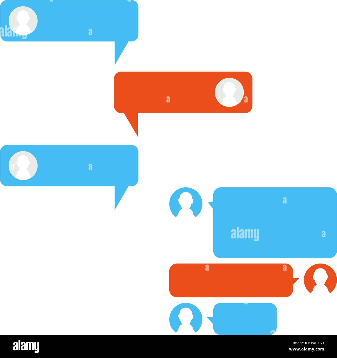 Vector Phone Chat Interface. Messenger, Speech Bubbles. Chatting Vector Design Elements Set for You Design Stock Vector
