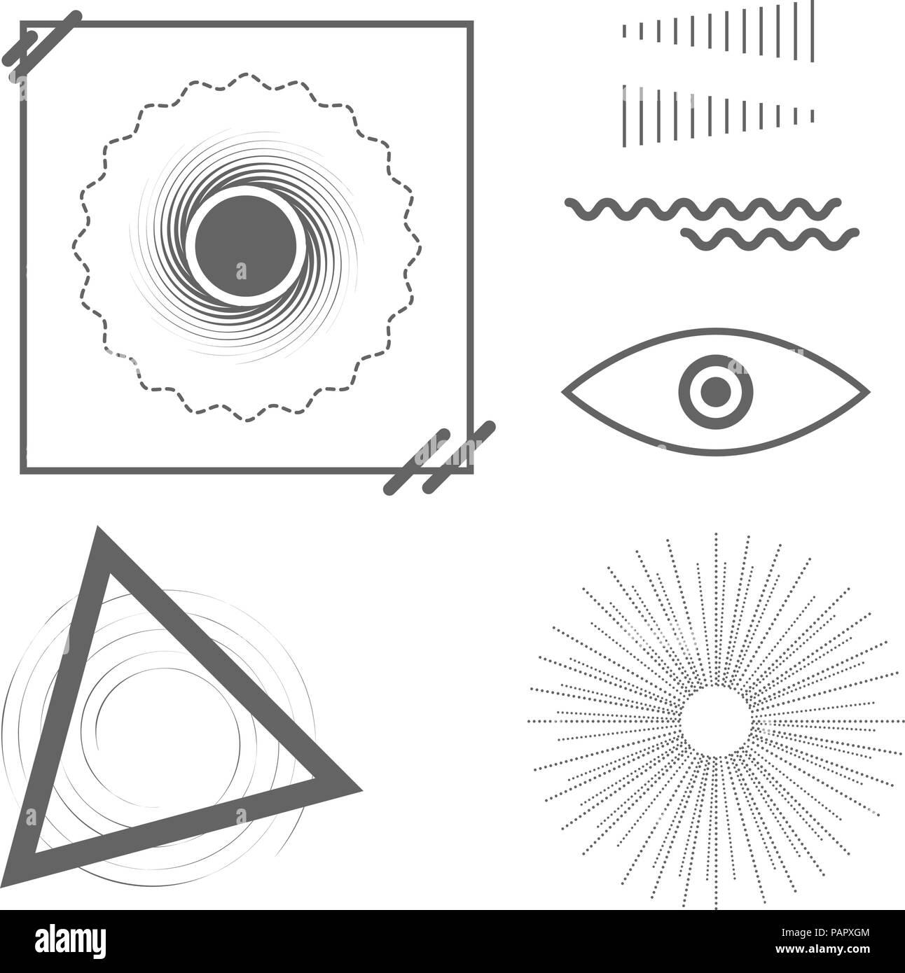 Universal Trend Geometric Shapes  Vector Design Elements Set