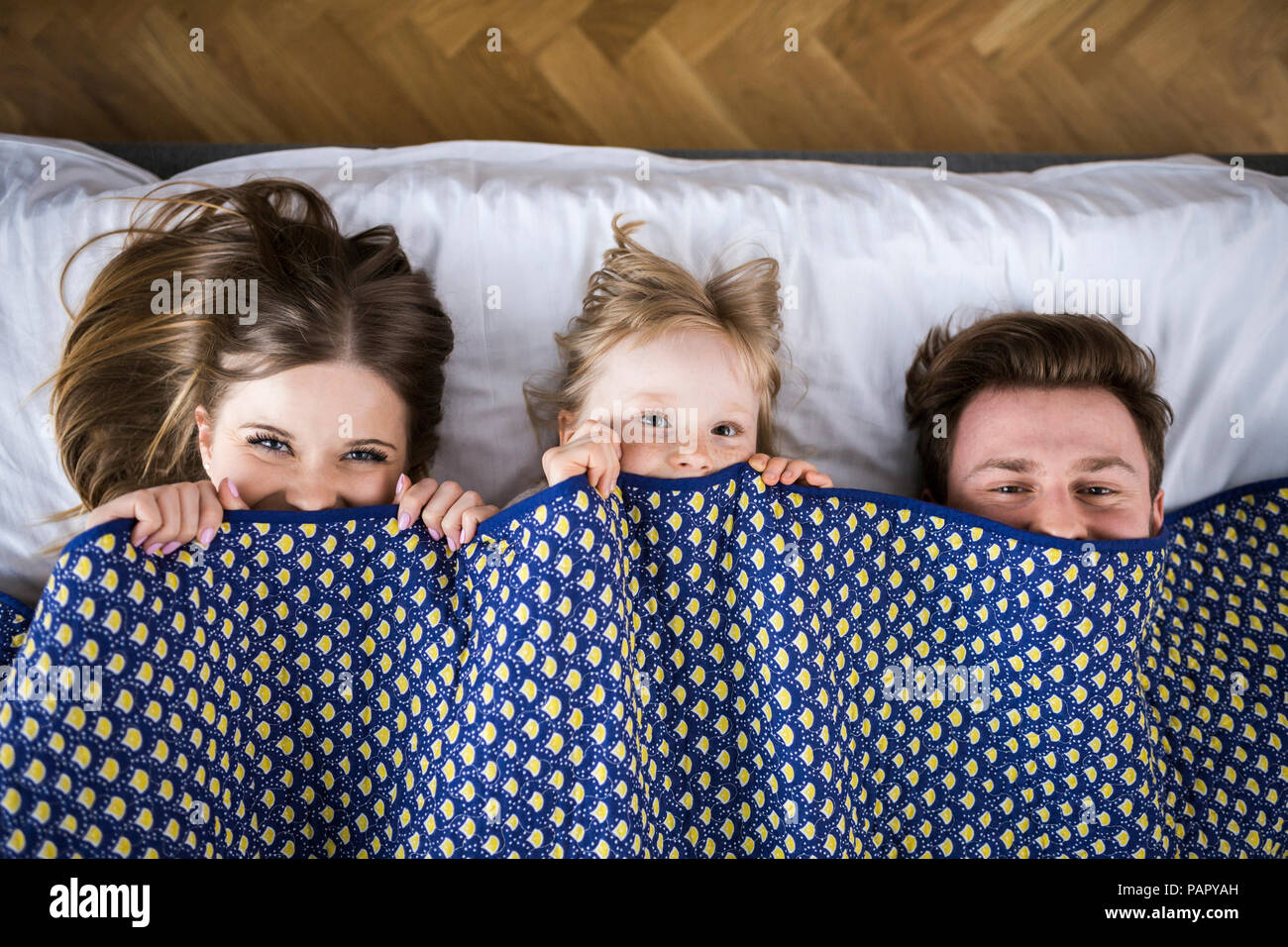 Happy family lying in bed, hiding under blanket - Stock Image