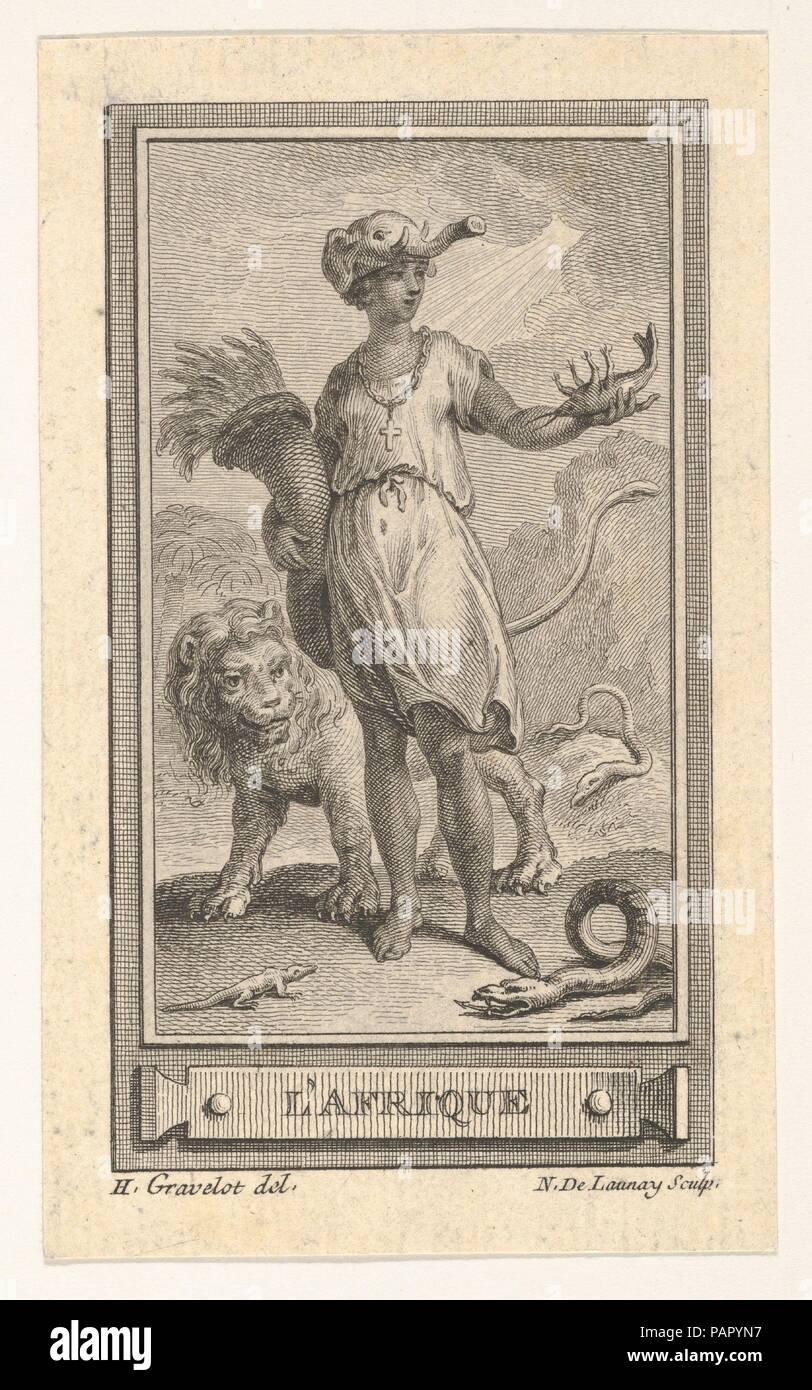 L'Afrique. Artist: After Hubert François Gravelot (French, Paris 1699-1773 Paris). Dimensions: sheet: 4 5/16 x 6 1/2 in. (11 x 16.5 cm). Date: 18th century. Museum: Metropolitan Museum of Art, New York, USA. - Stock Image