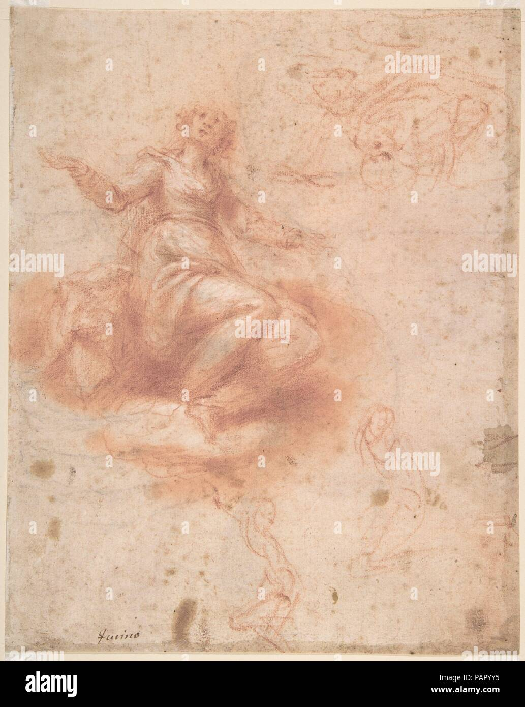 Young Woman on a Cloud with Three Figures (recto); Studies of an Old Man and a Hand (verso). Artist: Francesco Furini (Italian, Florence 1603-1646 Florence). Dimensions: Sheet: 9 9/16 x 7 5/8 in. (24.3 x 19.4 cm). Date: 17th century.  This double-sided sheet of studies in red chalk is an excellent and characteristic example of Furini's draftsmanship. It seems to be an early work by the artist, and the recto, with a study of a woman on a cloud, may have been preparatory for a lost painting of the 'Immaculate Conception' or, more likely, an 'Assumption.' The drawing can be dated to the late 1620 Stock Photo