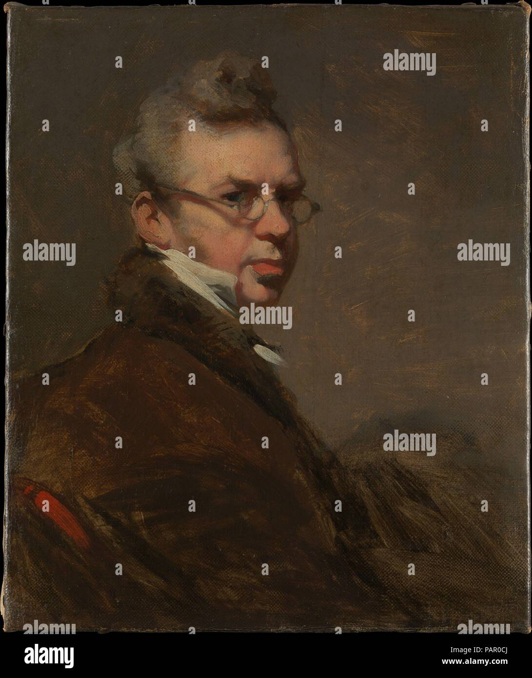 Self-Portrait. Artist: George Chinnery (British, London 1774-1852 Macau). Dimensions: 8 5/8 x 7 1/4 in. (21.9 x 18.4 cm). Date: 1825-28.  Chinnery painted more than a dozen self-portraits, the first of which he exhibited at the Royal Academy, London, in 1798; this is the most intimate and engaging of them all. An enigmatic figure, Chinnery was eccentric and volatile, with a tendency to hypochondria, a raconteur and wit with a gift for friendship. This likeness was painted in China and must date to the years 1825-28. Its first owner was the United States consul Benjamin Chew Wilcox, a businessm - Stock Image