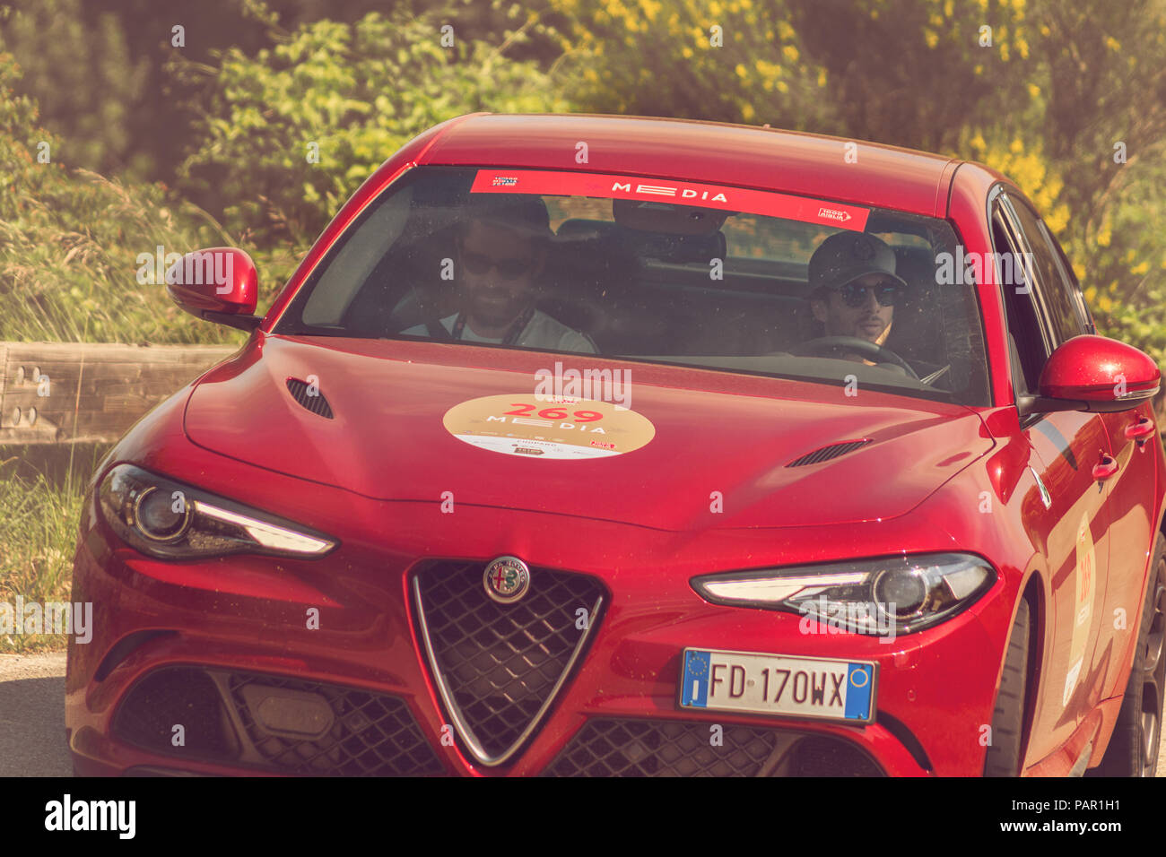 PESARO COLLE SAN BARTOLO , ITALY - MAY 17 - 2018 : ALFAROMEO GIULIA 2018 old racing car in rally Mille Miglia 2018 the famous italian historical race - Stock Image