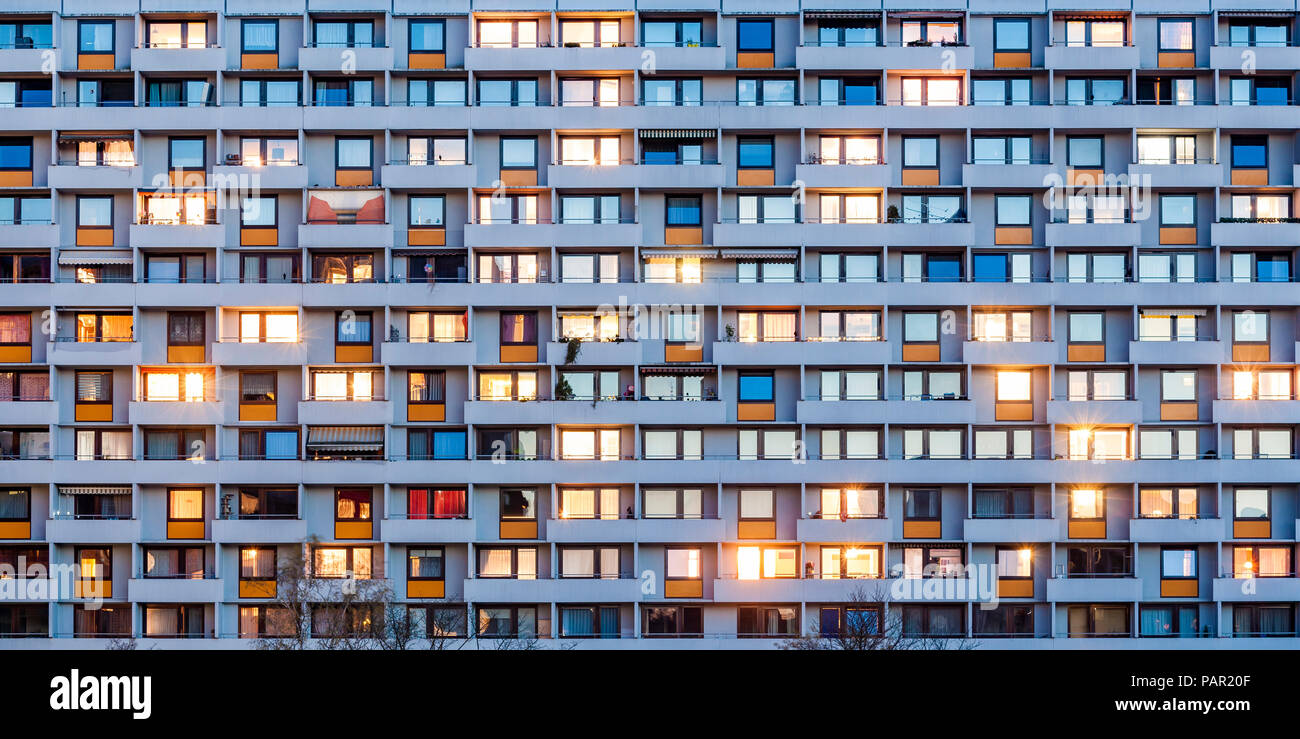 Germany, Stuttgart, Hallschlag, partial view of apartment tower - Stock Image