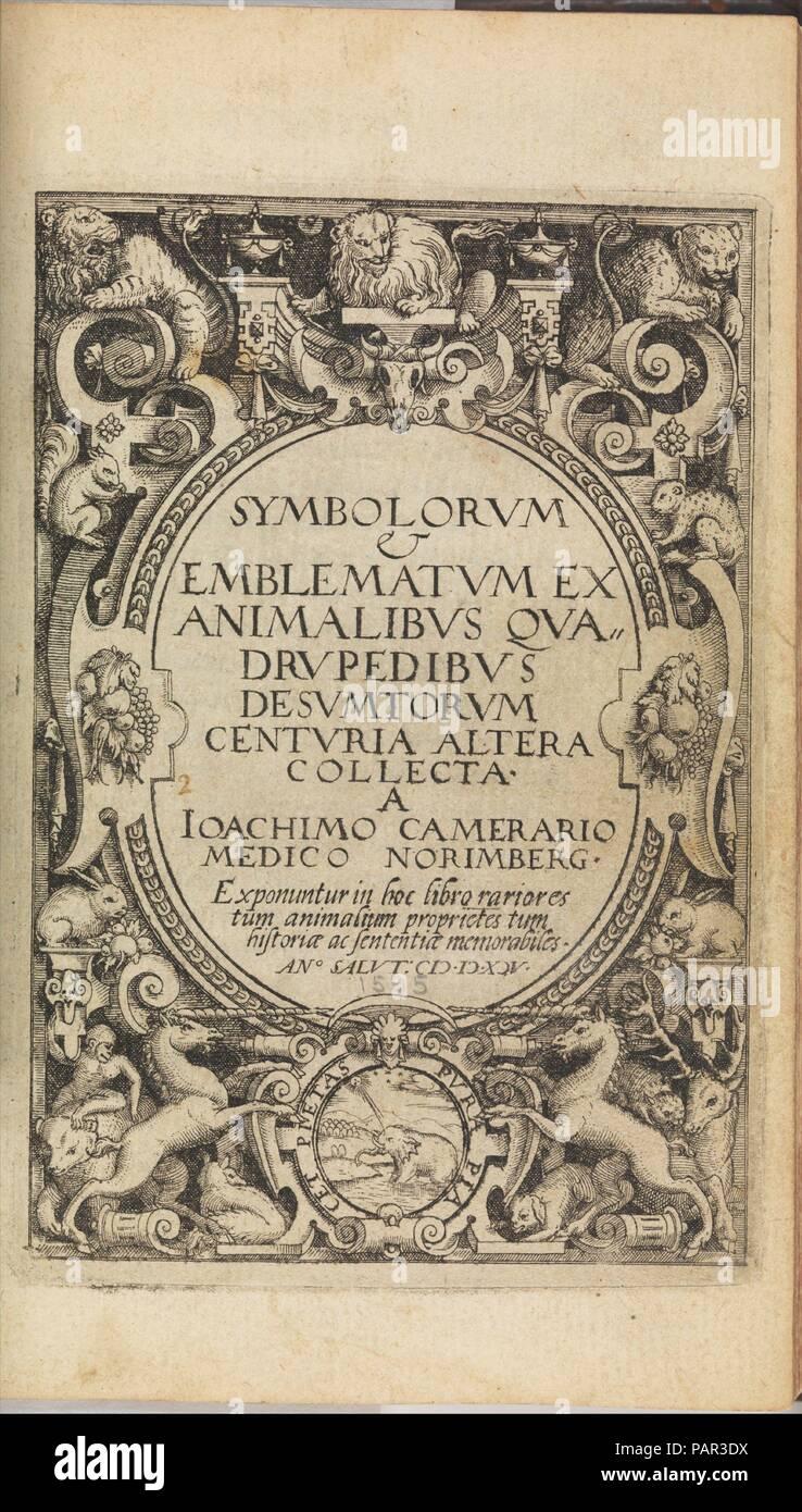 I) Symbolarum et Emblematum ex Aquatilibus et Reptilibus Desumptorum. Centuria Quarta. (1604). Artist: Johann Siebmacher (German, died 1611). Author: Written by Joachim Camerarius the Younger (German, 1534-1598). Dimensions: 7 9/16 x 5 11/16 x 1 3/4 in.  (19.2 x 14.5 x 4.5 cm). Printer: Printed by ? Vögelin. Date: 1590-1605. Museum: Metropolitan Museum of Art, New York, USA. - Stock Image