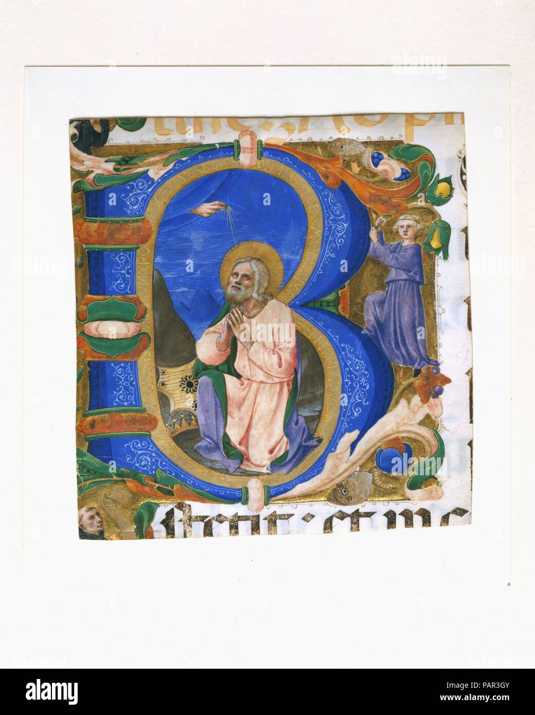 "King David in Prayer in an Initial B. Artist: Zanobi Strozzi (Italian, Florence 1412-1468 Florence). Dimensions: 5 5/8 x 5 3/8 in. (14.2 x 13.5cm)  Initial Ground: 4 13/16 x 4 13/16 in.. Date: ca. 1450.  The initial B introduces Psalm 1: B[eatus vir qui non abiit in consilio impiorum et in via peccatorum non] stetit et in c[athedra pestilentiae non sedit] (""Blessed is the man who walks not in the counsel of the wicked, nor stands in the way of sinners, nor sits in the seat of scoffers"").  King David kneels in prayer, his eyes raised toward a vision of the hand of God, blessing him from the hea Stock Photo"