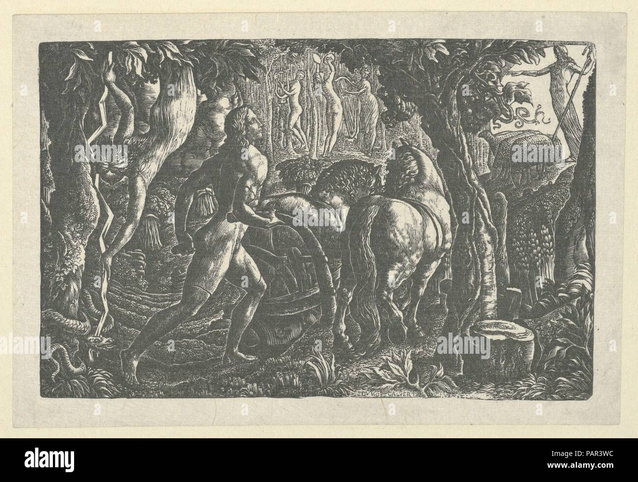 The Ploughman. Artist: Edward Calvert (British, Appledore, Devon 1799-1833 Hackney (London)). Dimensions: image: 3 1/4 x 5 in. (8.3 x 12.8 cm)  sheet: 3 3/4 x 5 1/2 in. (9.6 x 14 cm). Date: 1827.  In this richly detailed engraving, Calvert conjured an idealized medieval world. Made in the weeks immediately following Blake's death, The Ploughman manifests Calvert's affirmation of his own artistic vocation: the farmer who cuts furrows in the soil represents the engraver who incises lines in copper plates. This print's full title, The Ploughman, or Christian Ploughing the Last Furrow of Life, all Stock Photo