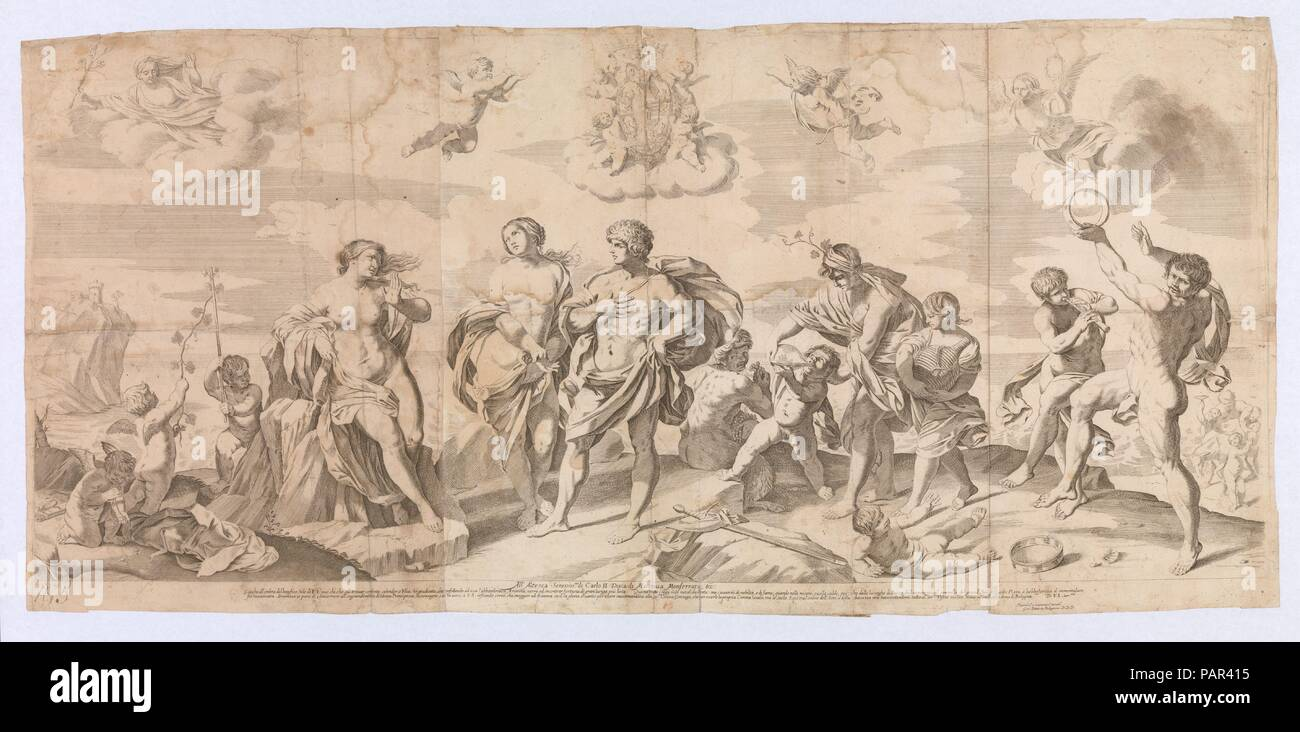 Bacchus with his companions discovering Ariadne on the island of Naxos, after Reni. Artist: After Guido Reni (Italian, Bologna 1575-1642 Bologna); Gian Battista Bolognini (Italian, Bologna 1611-1688 Bologna). Dimensions: Sheet (Trimmed): 19 11/16 × 42 1/8 in. (50 × 107 cm). Date: 1650-80.  Three joined sheets with impressions from three plates.  After a painting by Reni made for the Queen of England (according to Bartsch). Museum: Metropolitan Museum of Art, New York, USA. Stock Photo
