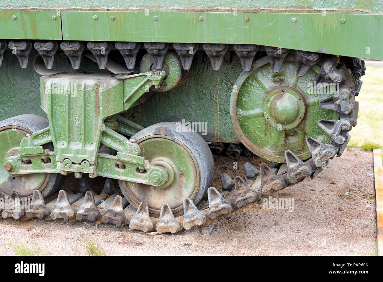 Tank caterpillar tread with wheels  Modern military