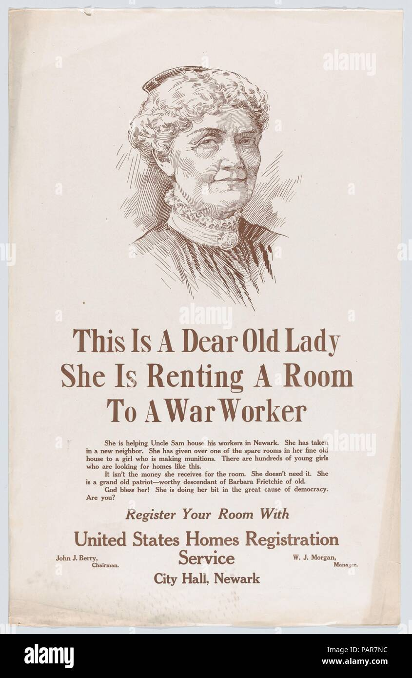 This is a dear old lady. Dimensions: Sheet: 22 1/16 in. × 14 in. (56.1 × 35.6 cm). Publisher: Issued by United States Homes Registration Service. Date: ca. 1917.  World War I poster. Museum: Metropolitan Museum of Art, New York, USA. - Stock Image