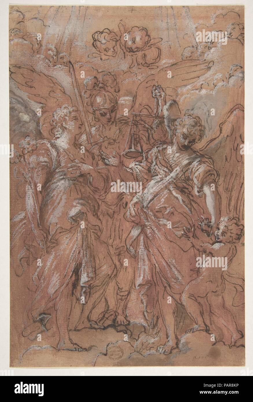 The Archangels Gabriel, Michael and Raphael (recto); sketches of figures (verso). Artist: Giuseppe Passeri (Passari) (Italian, Rome 1654-1714 Rome). Dimensions: 9 1/2 x 6 1/4in. (24.2 x 15.8cm). Date: 1654-1714. Museum: Metropolitan Museum of Art, New York, USA. - Stock Image