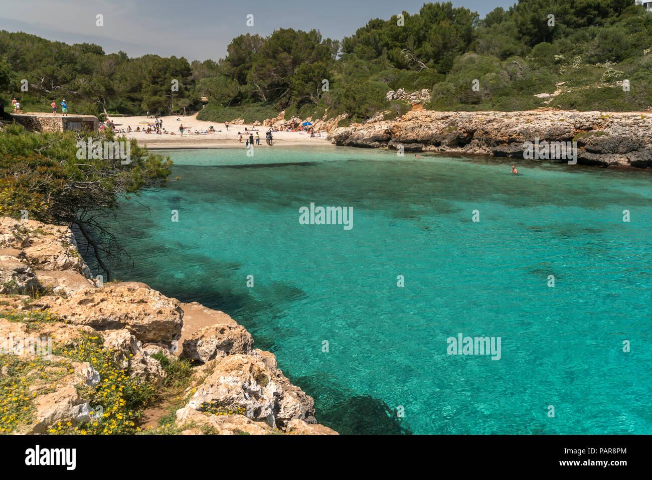 Spain, Balearic Islands, Mallorca, Felanitx, Cala Sa Nau - Stock Image