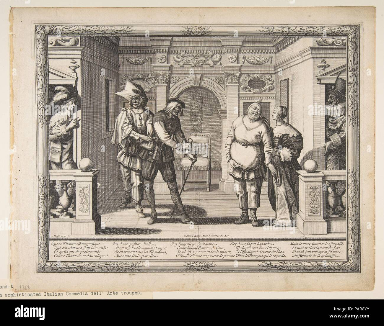 Actors at the Hotel de Bourgogne. Artist: Abraham Bosse (French, Tours 1602/1604-1676 Paris). Dimensions: Sheet: 11 9/16 × 14 3/4 in. (29.4 × 37.4 cm)  Plate: 10 1/4 x 13 1/4 in. (26 x 33.7 cm). Publisher: Jean I Leblond (French, ca. 1590-1666 Paris). Date: ca. 1633-34.  This print depicts six actors from a troupe of comedians led by Robert Guérin appear on stage at the theatre of the Hôtel de Bourgogne in Paris. The play depicted is unknown, but the characters can be identified as Turlupin (a roguish valet played by Henri Legrand), an old man (played by Gaultier-Garguille) and Gros Guillaume  - Stock Image