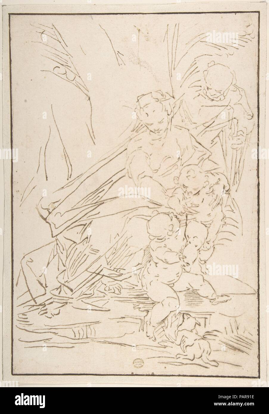 Holy Family. Artist: After Luca Cambiaso (Italian, Moneglia 1527-1585 Madrid). Dimensions: 14 1/4 x 9 3/4in. (36.2 x 24.8cm). Date: 1527-85. Museum: Metropolitan Museum of Art, New York, USA. Stock Photo