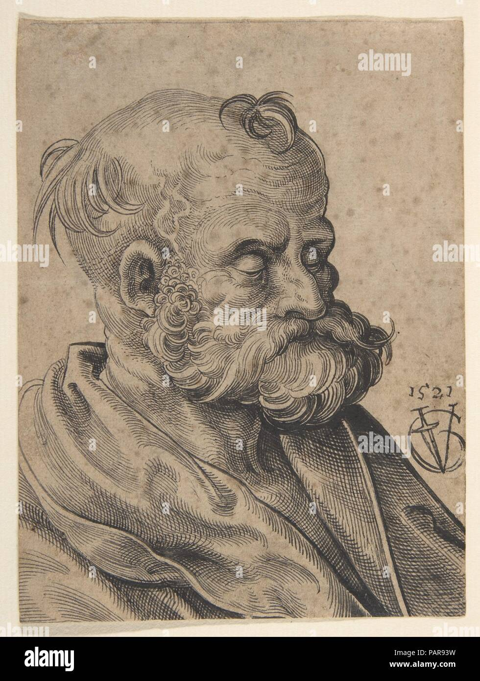 Bust of a Bearded Old Man. Artist: Urs Graf (Swiss, Solothurn ca. 1485-1529/30 Basel). Dimensions: sheet: 5 1/2 x 4 1/8 in. (14 x 10.4 cm). Date: 1521. Museum: Metropolitan Museum of Art, New York, USA. Stock Photo