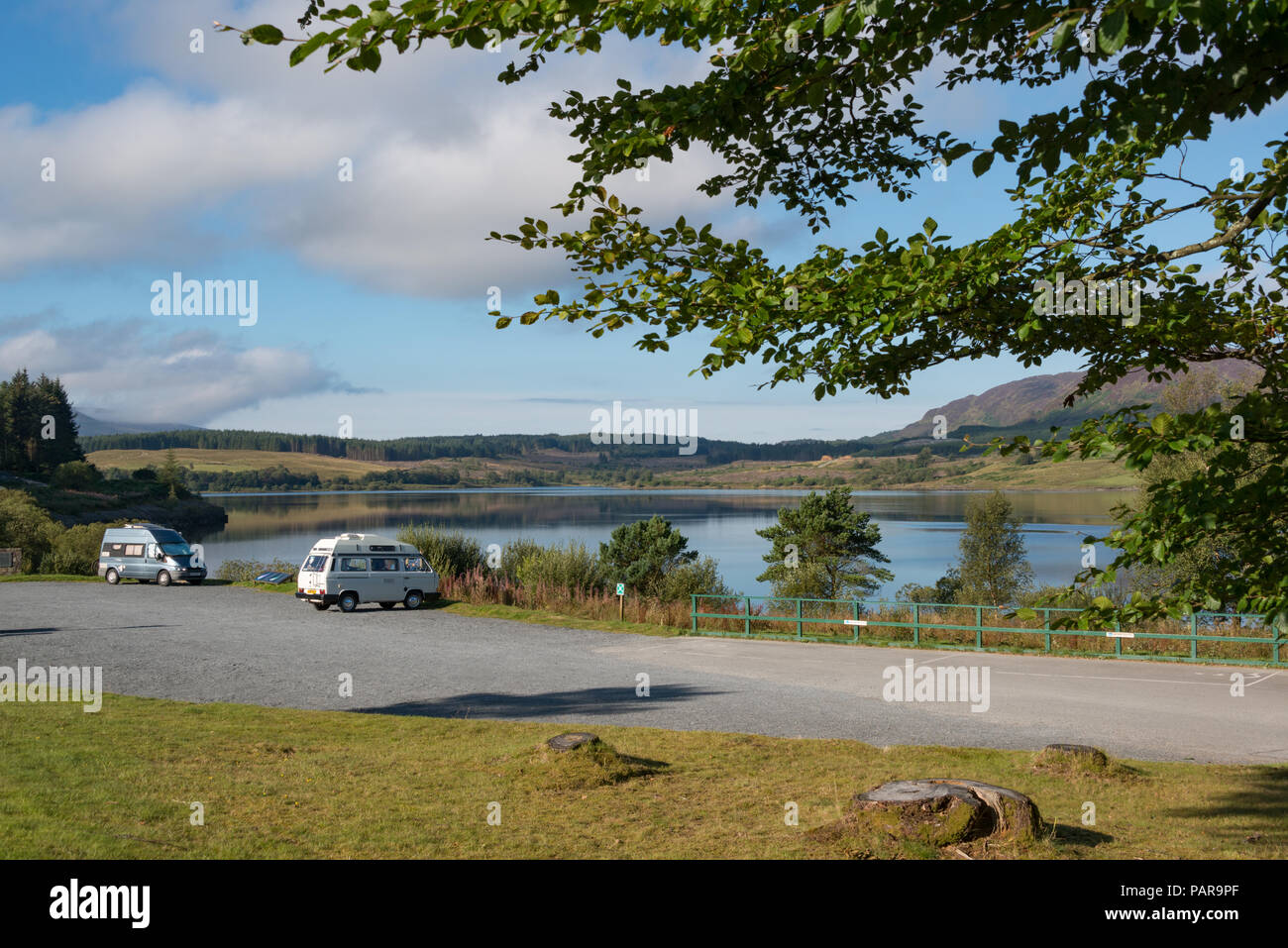 Campervans parked up at the Galloway Forest Park, Dumfries and Galloway, Scotland - Stock Image