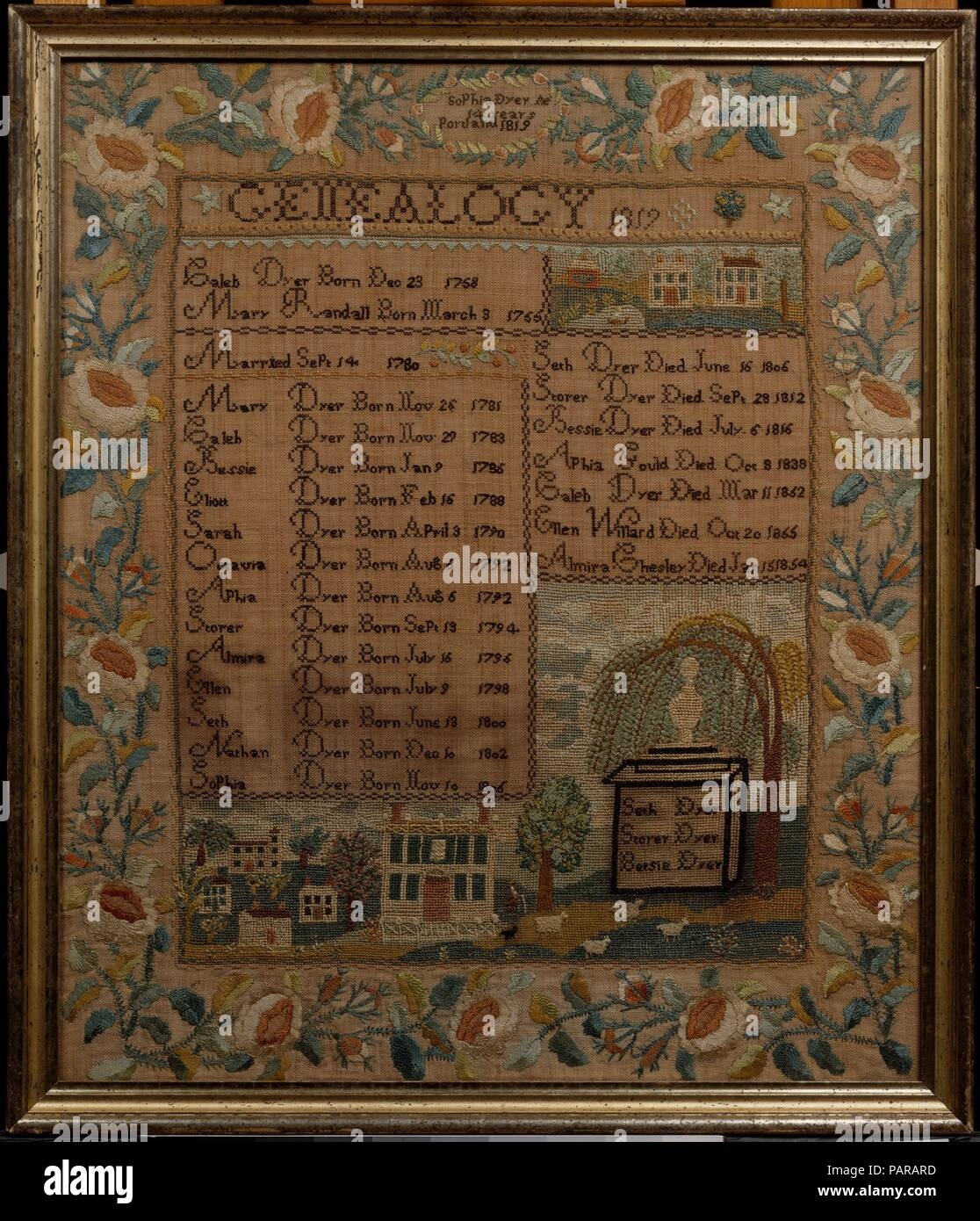 Embroidered Sampler. Culture: American. Dimensions: 25 x 21 1/2 in. (63.5 x 54.6 cm). Maker: Sophia Dyer (born 1805). Date: 1819.  Portland, Maine schoolgirls produced a distinctive group of genealogical samplers. Following a prescribed format, these samplers list the birth and marriage dates of the parents; and the name and birth date of each of their children. Also characteristic are townscapes with white clapboard Federal houses and elegant borders of roses, rosebuds and leafy vines. Museum: Metropolitan Museum of Art, New York, USA. Stock Photo