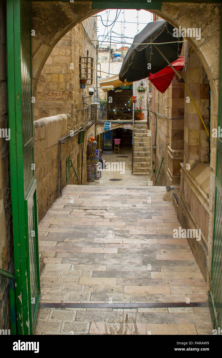 The narrow passageway leading to the public toilet area at the Dome of The Rock shrine on The Temple Mount in Jerusalem - Stock Image
