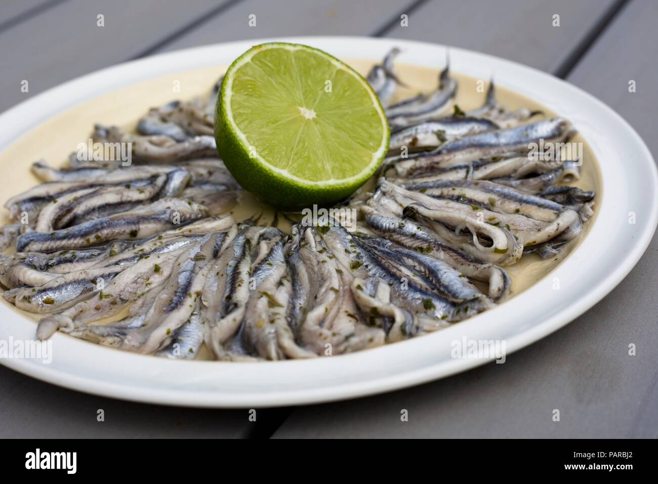 Plate of marinated anchovies, or Boquerones en vinagre, a Spanish tapas dish - Stock Image