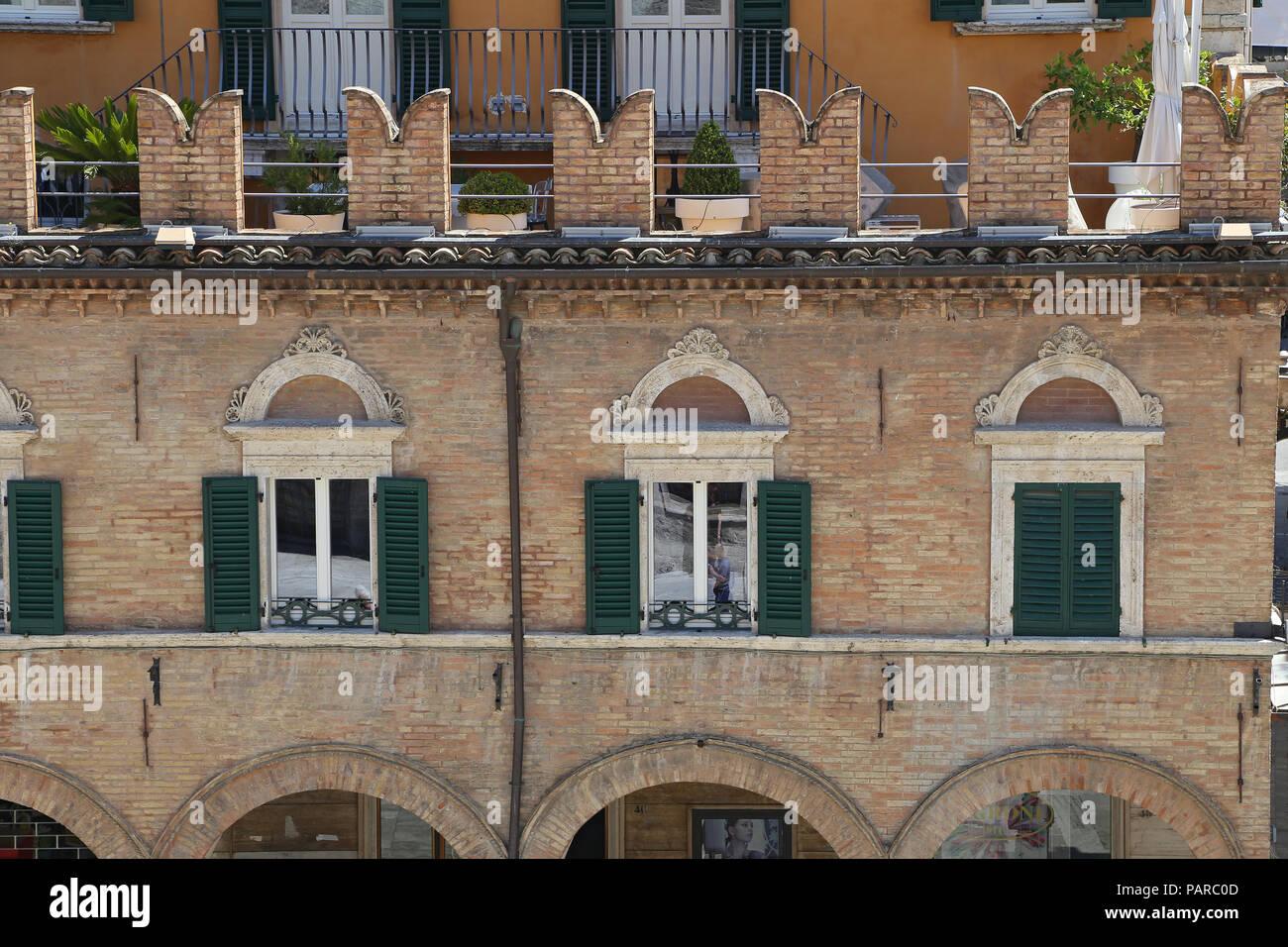 Ascoli Piceno (Marches, Italy) - Ancient building in the main square - Stock Image