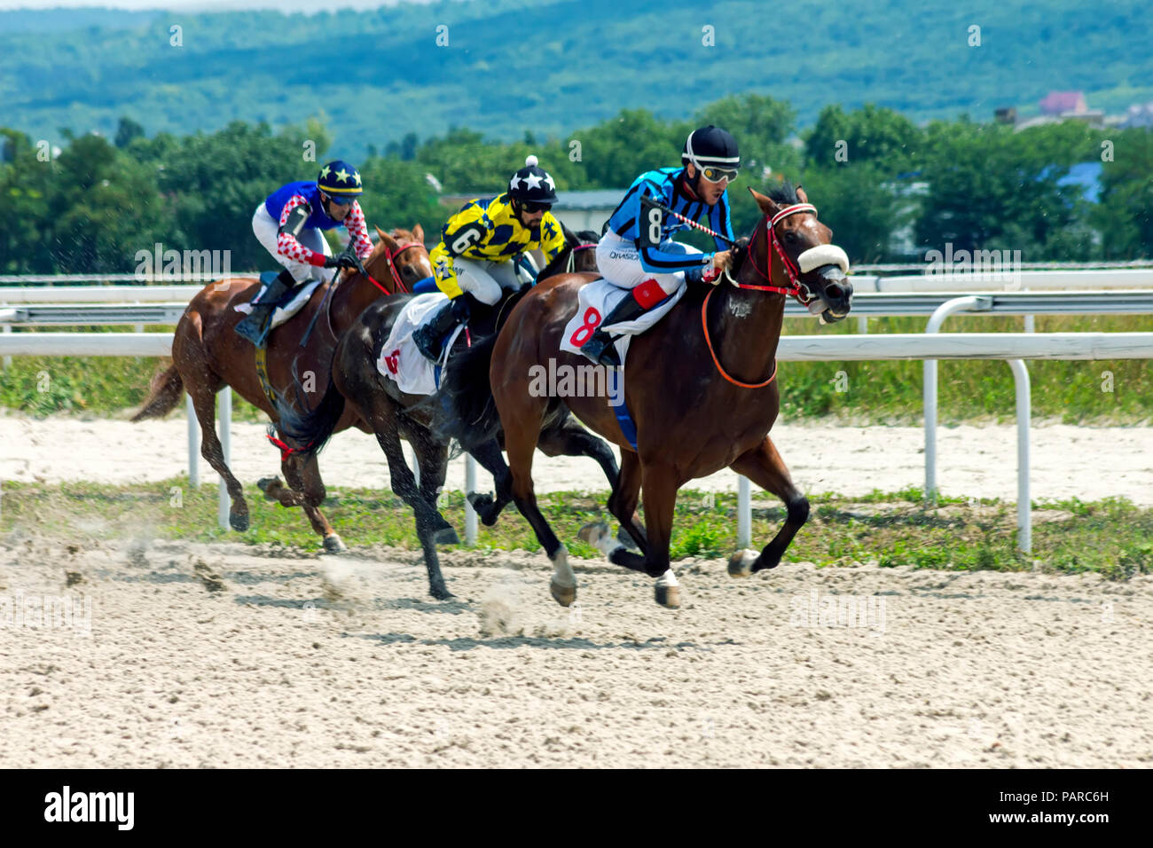PYATIGORSK, RUSSIA - JULY 22, 2018:Horse racing for the prize of the Kondratova in Pyatigorsk,one of the largest and oldest racecourses in Russia. Stock Photo