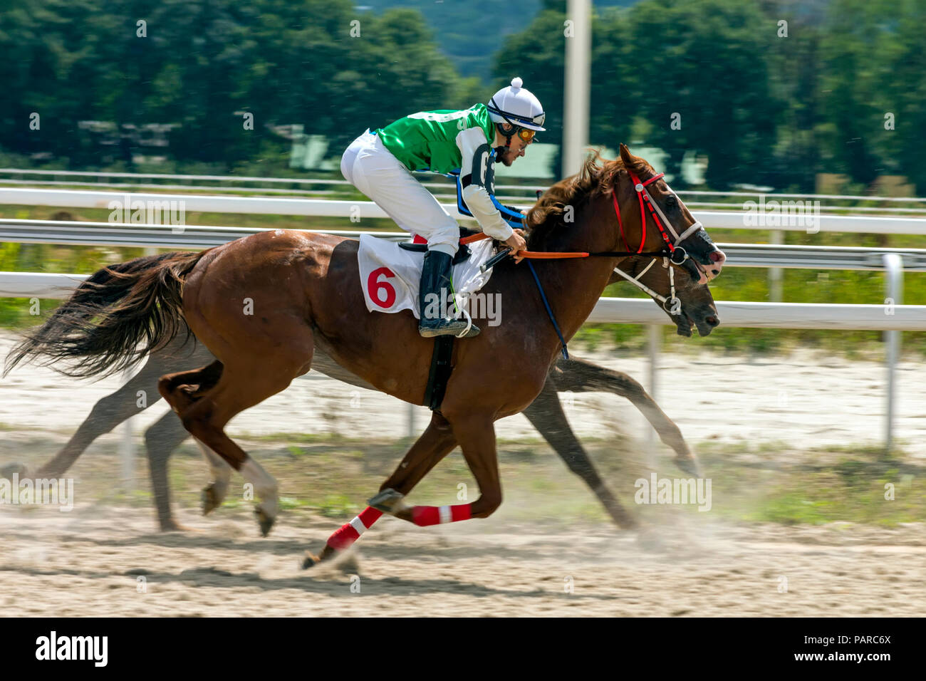PYATIGORSK, RUSSIA - JULY 22, 2018:Horse racing for the prize of the Aragvi in Pyatigorsk,one of the largest and oldest racecourses in Russia. Stock Photo