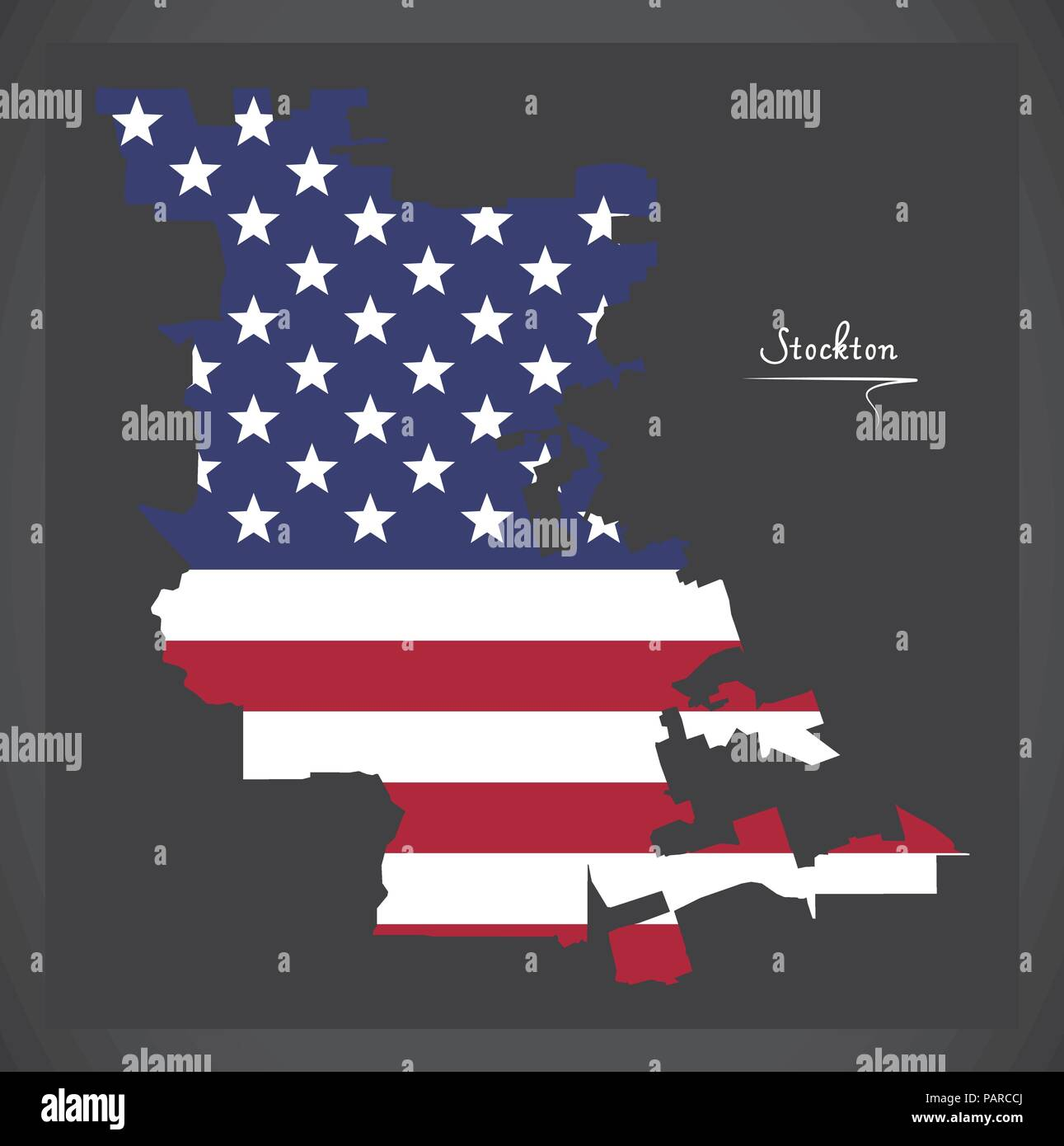 Stockton California map with American national flag ...