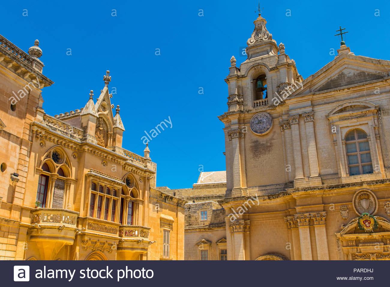 metropolitan cathedral of saint paul in mdina, malta - Stock Image