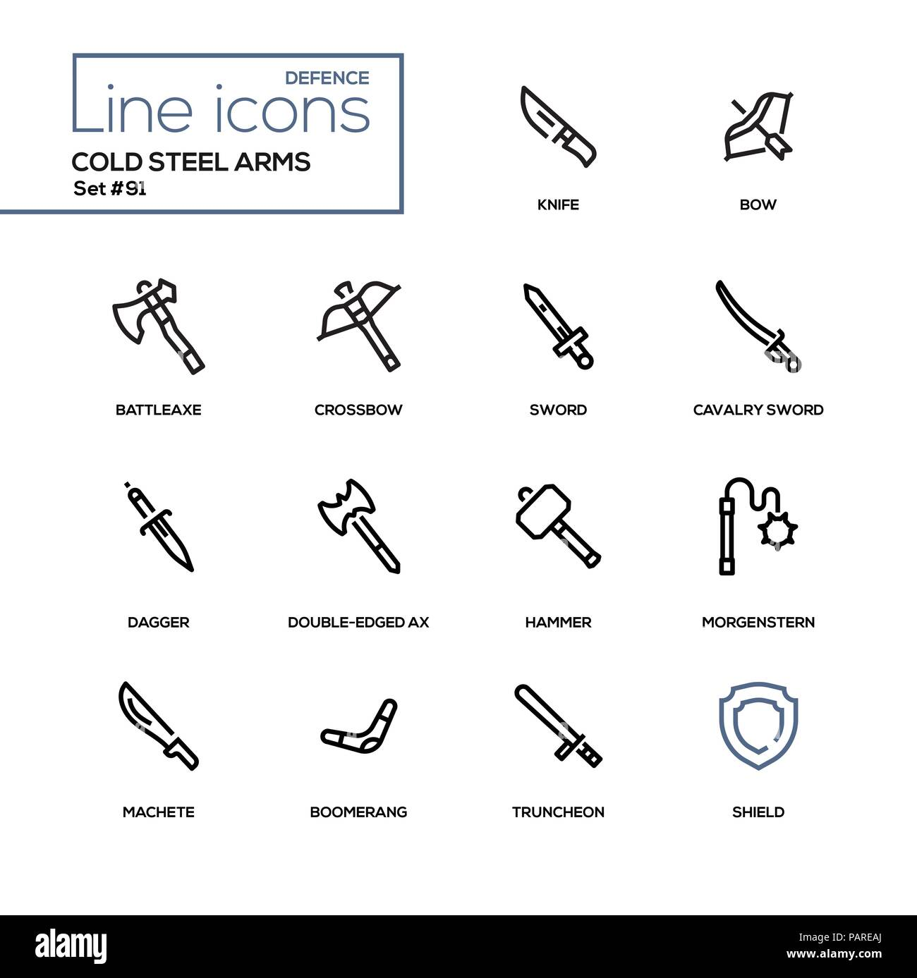 Cold steel arms - modern line design icons set - Stock Image