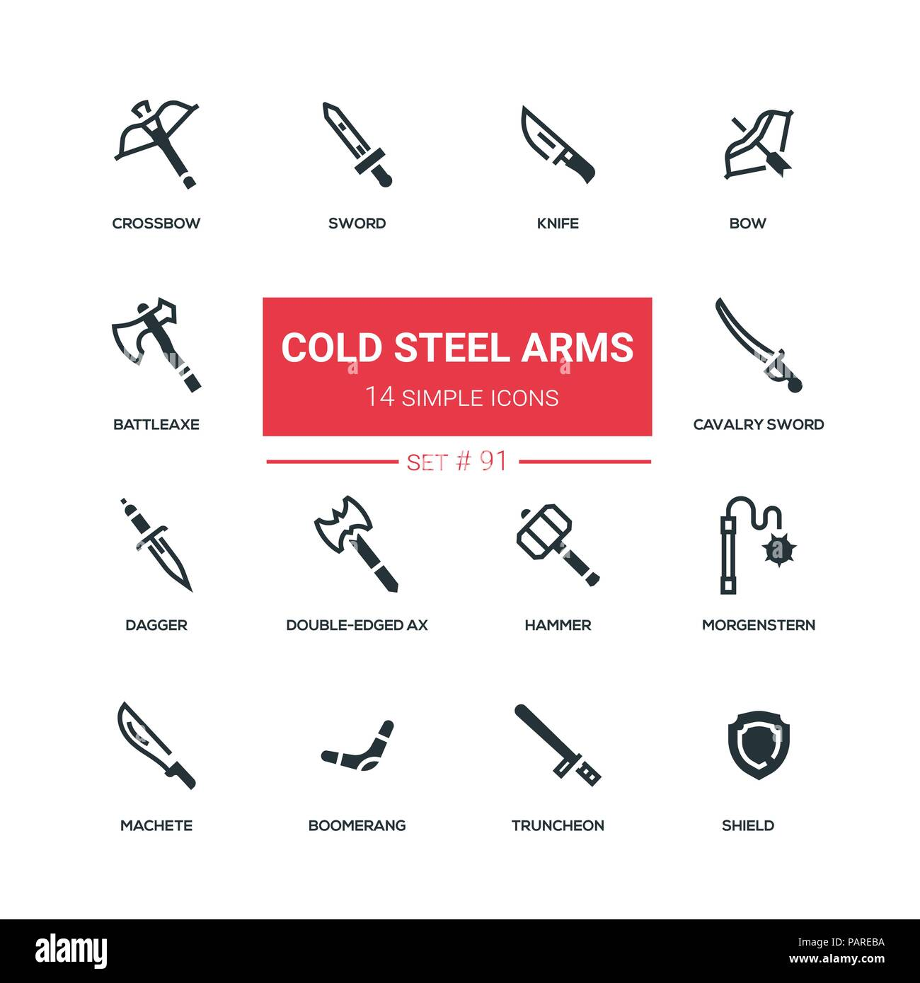 Cold steel arms - flat design style icons set - Stock Image