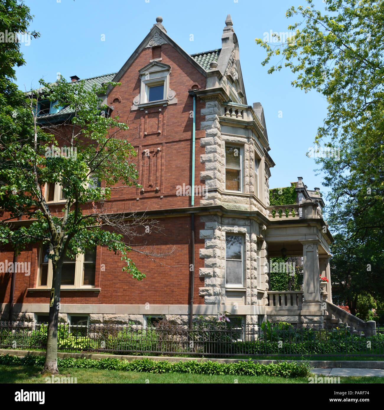 Turn of the Century mansion on Logan Boulevard in Chicago's Logan Square neighborhood, Stock Photo