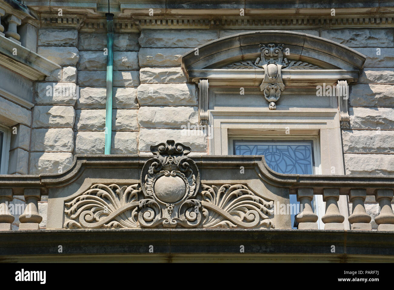 Architectural detail of a mansion in Chicago's Logan Square neighborhood, - Stock Image