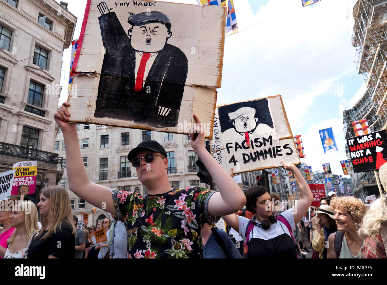 Anti Trump March Central London July 13 2018 - Stock Image