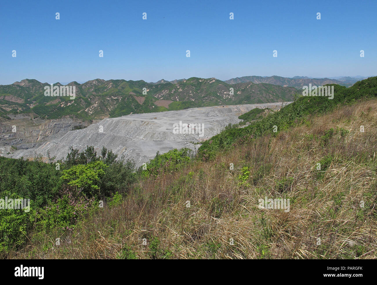 view over opencast coal mine  north-east Hebei, China       May 2016 Stock Photo