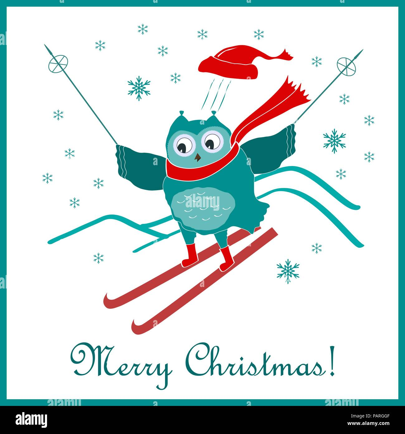 Funny and cute skiing owl. New Year and Christmas card. Vector ...