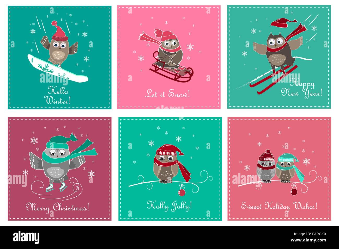 set of greeting card with cute owls christmas and new year cards with owls and winter sports vector illustration