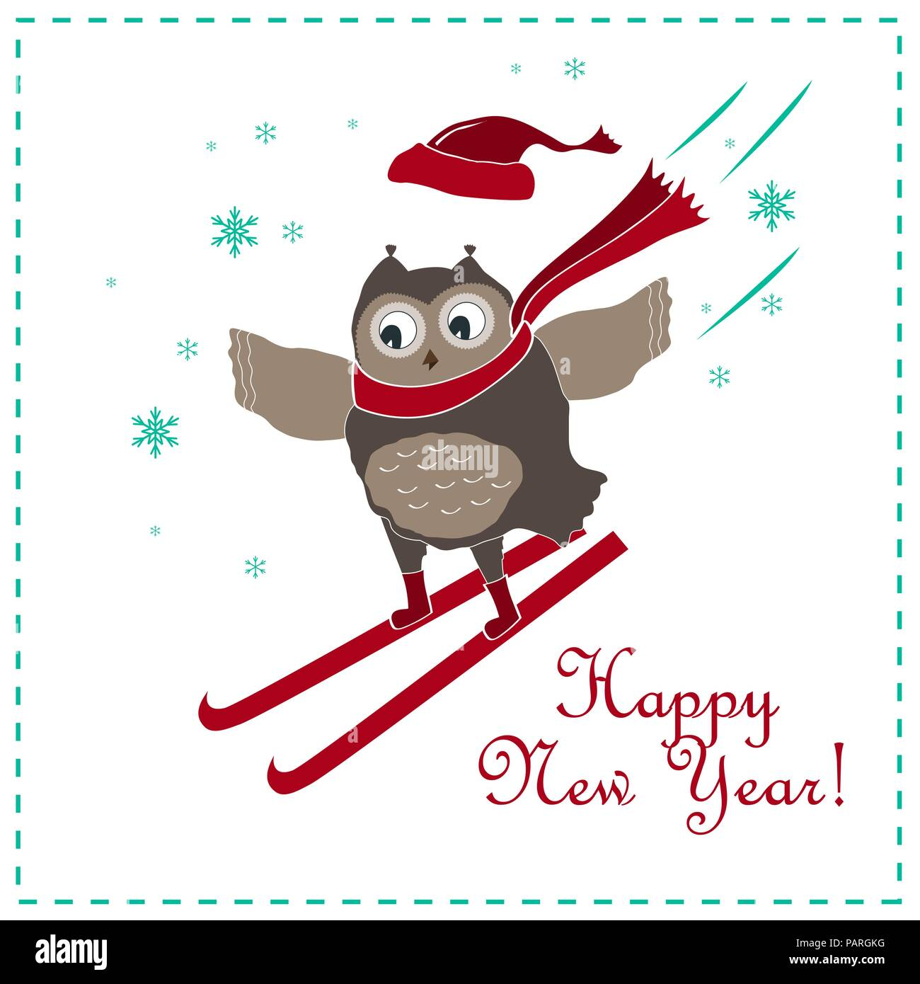 funny and cute skiing owl new year and christmas card vector illustration
