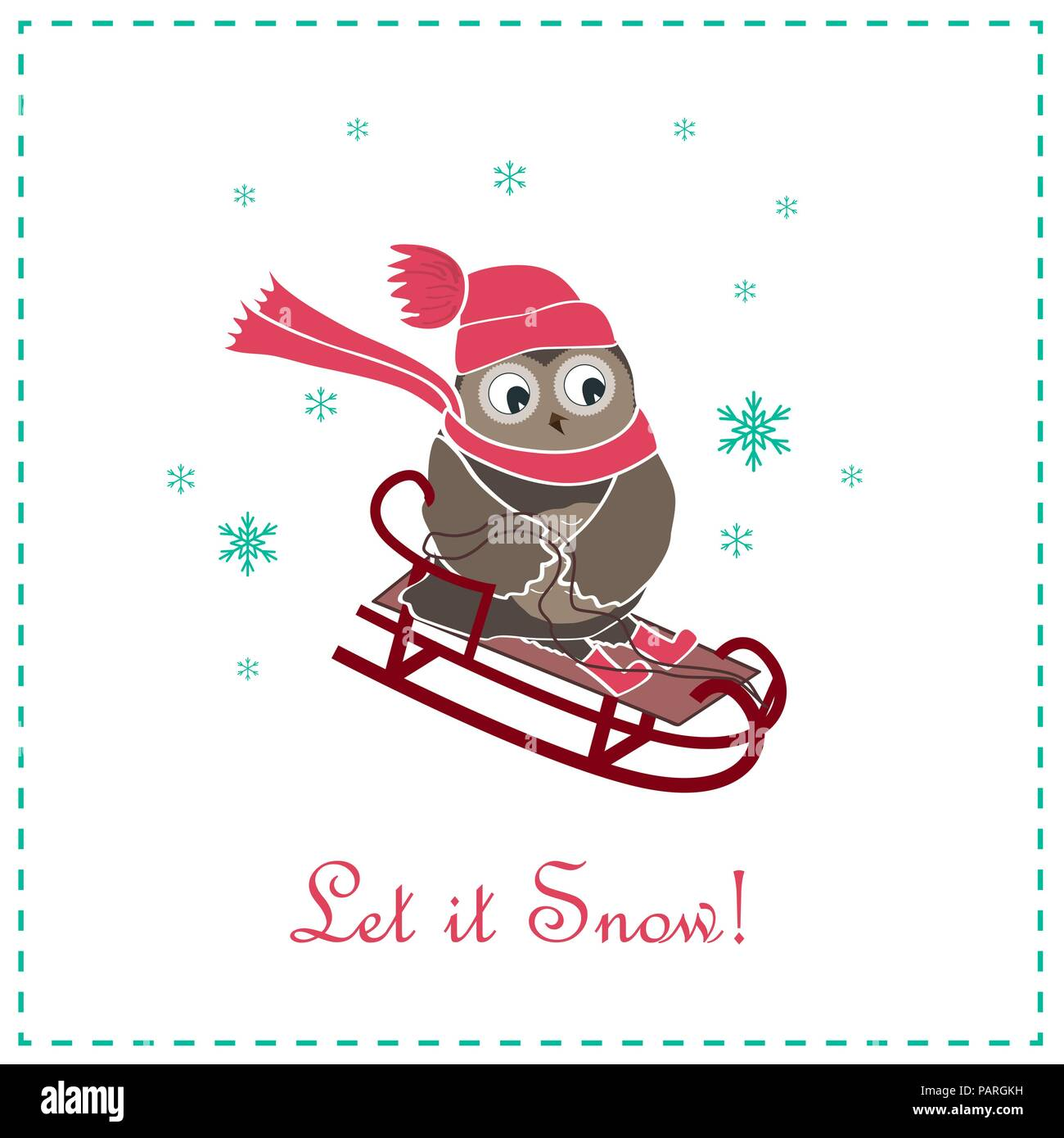 funny and cute sledging owl new year and christmas card vector illustration