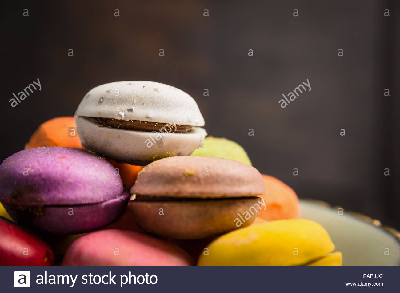 Still life shot of home made macaroons - Stock Image