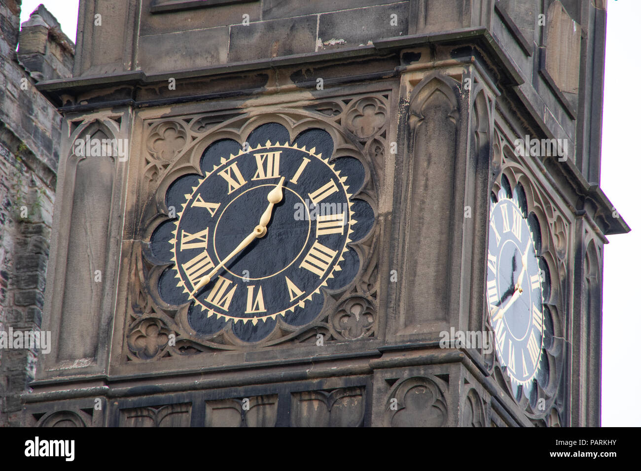 Clock tower detail images of the outside of the historic building of Lancaster Castle in the city of Lancaster, UK Stock Photo