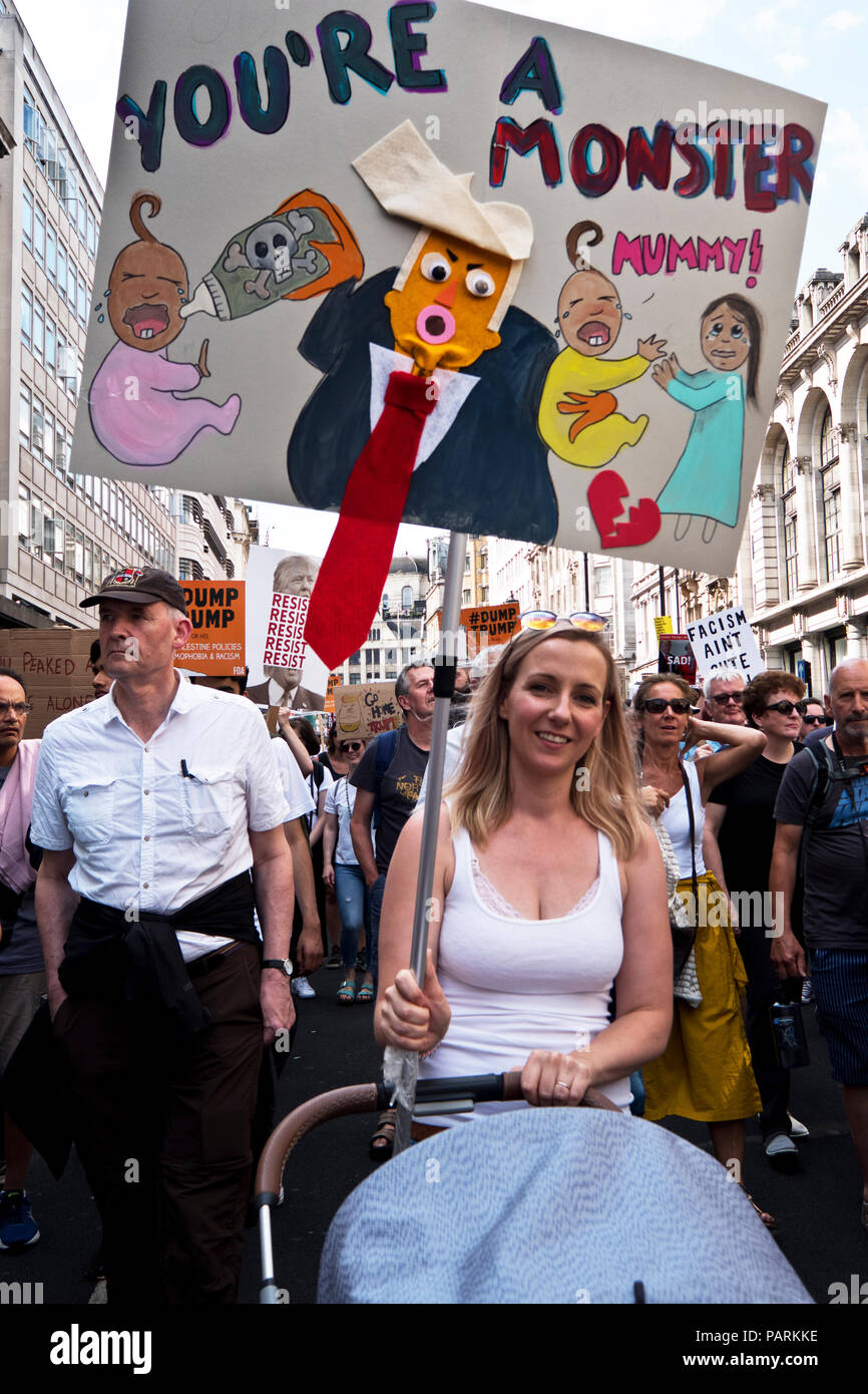 Anti Trump protest during his London visit. Central London July 13 2018 - Stock Image