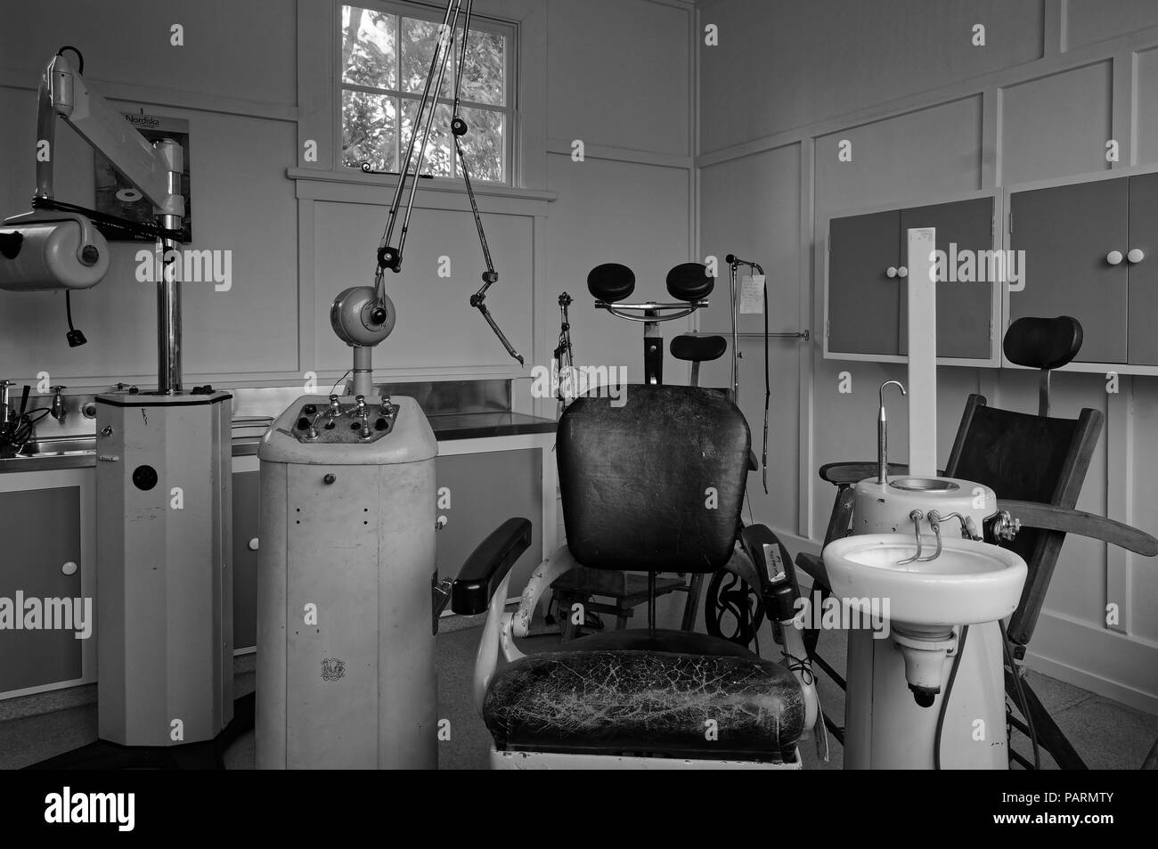 dental equipment from the last century, black and white - Stock Image