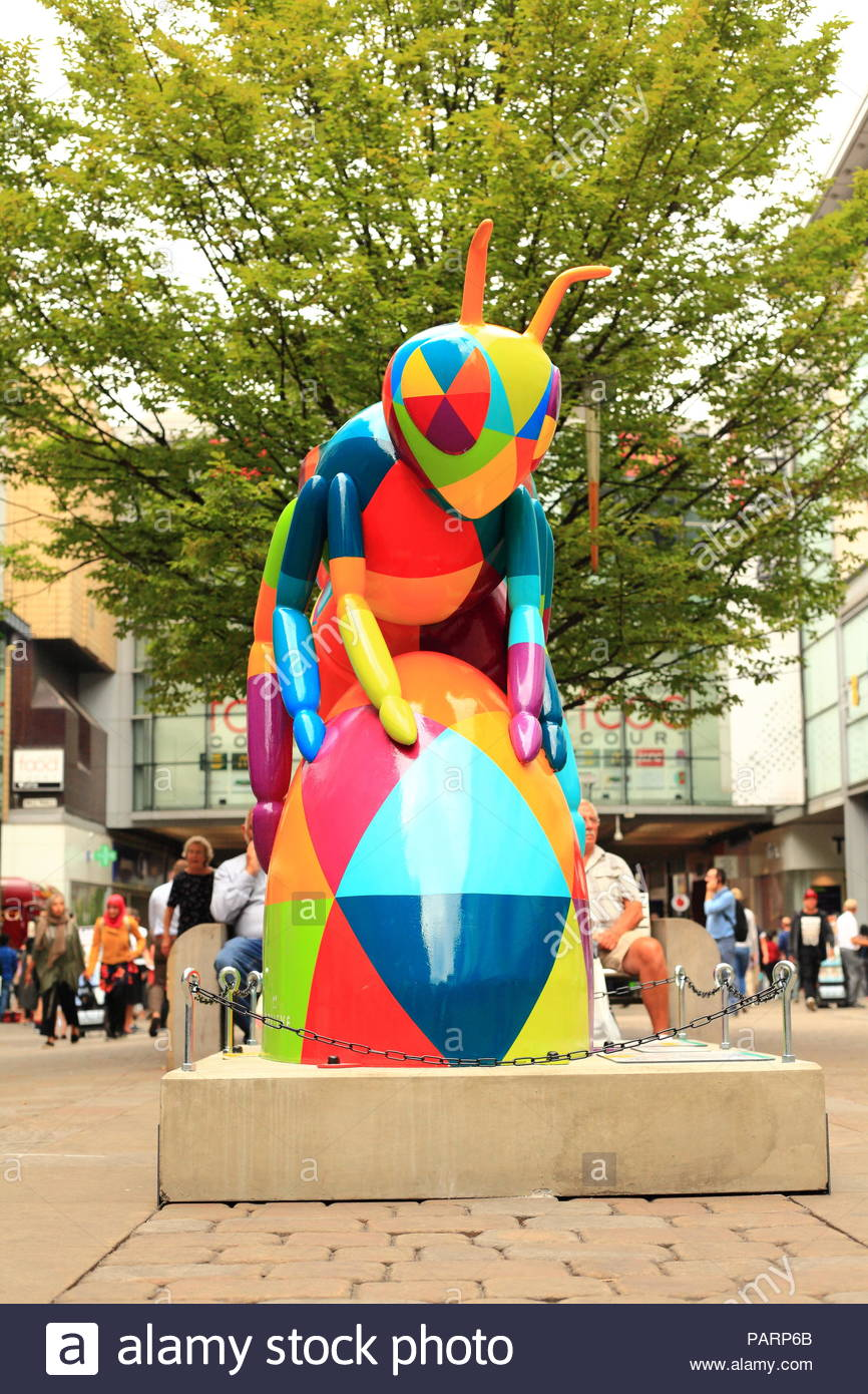 Sculpture of a giant artistic bee from the 'Bee in the City' art trail found throughout Manchester City UK. Summer July 2018 - Stock Image