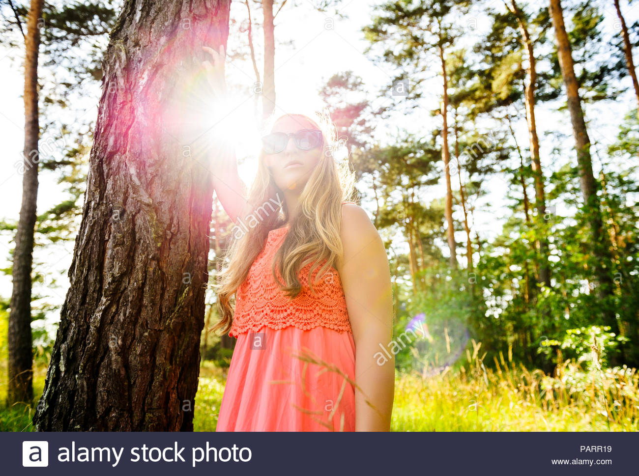 Portrait of young woman standing against tree trunk. - Stock Image