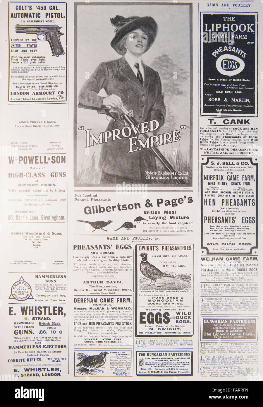 Old shooting, gun and associated adverts. From an old magazine during the 1914-1918 period. UK GB - Stock Image